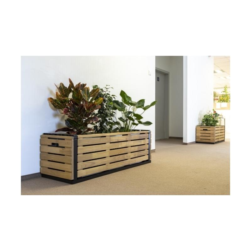 Karsai magaságyás - kül- és beltéri növényláda akác borítással - L méret  (134cm)