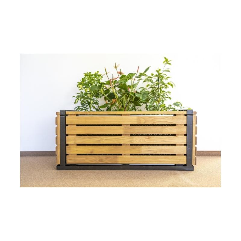Karsai magaságyás - kül- és beltéri növényláda akác borítással - M méret  (100 cm)
